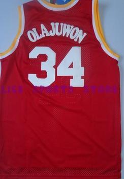 Fast Free Shipping, Retail& Wholesales houston 34 Hakeem Olajuwon CLASSIC retro Basketball jersey embroidery logo