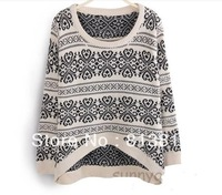 SW22 2013 Women's Collegiate Sweater Asymmetric Hem Vintage Fashion Autumn Winter Pullover Spring Jumper Tops Free Shiping