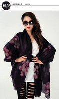 Inner Mongolia plateau, pure cashmere scarf, hand-painted flowers, girls scarf