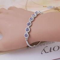 Purple drill sunflower crystal bracelet (ma52)