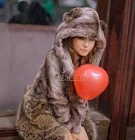 2013 belt ear hats bear faux outerwear medium-long overcoat