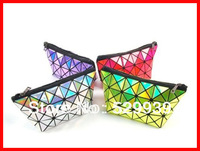 Women fashion 2014 symphony neon holographic silver color day clutch geometric instorage cosmetic bag