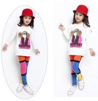 Wholesale 5Pcs/Lot Candy Colorful Girls Autumn/Winter/Spring Leggings Comfortable Patchwork Pant For Childern Kids 6 to 12Years