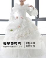 vestido de noiva 2014    fashionable sexy high quality beads crystal   long sleeve winter      wedding dress bridal gown