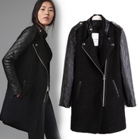 Free shipping  lady stand collar zipper long jacket  New Women patchwork leather overcoat fashion woolen outerwear