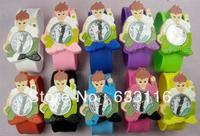 free shipping 10pcs wholesale new popular cute ben10 3D cartoon silicone kids children boys girls sports clap quartz wrist watch