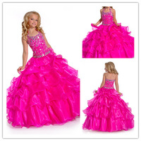 2013 New Arrival  Free shipping Best selling Quality Beading Halter Bubble Flower Girl Dresses For Weddings  A014