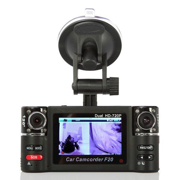 "720P Dual Lens 2,7 "" TFT LCD TV F20 Car Veículos Vídeo Recorder DVR HDMI(China (Mainland))"