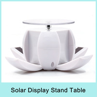 Foldable 360 Degree Rotating Solar Powered Display Stand Turnable Table for Phone Jewelry Watch White/Green Drop Shipping