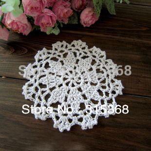 Free shipping Handmade Crochet Coaster Cotton Ecru Doily 12cm Cup mat Crocheted Doilies 50pcs/Lot(China (Mainland))