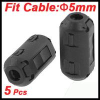 5 Pcs 5mm Diameter Black Clip On EMI RFI Noise Ferrite Core Filters