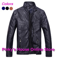 Hot sale!2013 New mens winter leather jacket autumn coat fashion motorcycle jacket Brand quality 3 Colors free shipping