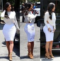 2014 Autumn Cotton Women Sexy Bandage Bodycon Kim Kardashian Celebrity Casual Midi Dress Backless Hollow Elastic Dresses Set 2pc