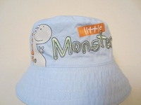 2014 New Children Caps Monkey and Dinosaur 2 Side Summer Sunbonnet Embroider Bucket Hat Baby Hat Beach Cap size 46-52cm10pcs/Lot