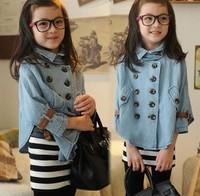 2014 new fashion autumn-summer clothing,children denim sweater brand,kids coat,Bat shirt outerwear,coats and jackets for girls