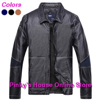 Hot sale 2014 New Men's fashion leather Jacket Brand quality PU leather coat men's winter autumn jacket free shipping