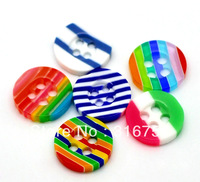 Hot Sale  New Hot Sale  free Shipping 200pcs Mixed 4 Holes Round Striped Resin Sewing Buttons Scrapbooking(w02240)