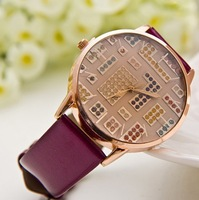 Fashion Quartz Candy Leather Strap Women Rhinestone Watches Wholesale Free Shipping CP20