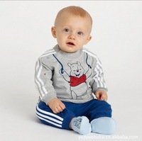 Free shipping baby tracksuit cartoon bear children suit