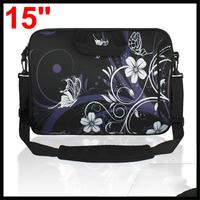 "15"" 15.4"" 15.6"" Black Purple Notebook Laptop Shoulder Bag w Handle"