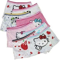 Free shipping12pcs/lot hello kitty cat printing Children's cotton boxer underwear girls cotton pants for children kids pants