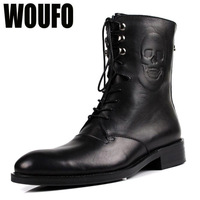 suze38-44 Woufo men's martin trend of skull medium-leg cool skull black brown lace-up martin boots male britsh style shoes