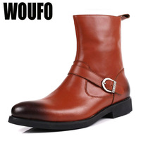 size38-44 Woufo fashion men's buckle side zipper autumn winter tidal current tooling genuine leather medium-leg martin boots