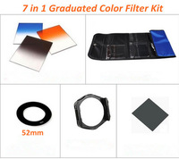 Free shipping 7 in 1  Square Gradual Blue Grey Orange filters+Full ND8+52mm  Adapter Ring+Holder+Lens Hood for Cokin P
