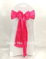 100pcs fuchsia satin chair sash bow ribbon wedding party banquet decoration free shipping
