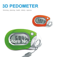 3D Sensor Pedometer Multi function calorie Pedometer With Memory  7 days memory with clock Free Shipping