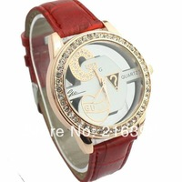 New Arrive G Design Fashion Wristwatch Leather with Rhinestone Brand Logo Watch for Women Men Lady.Free Shipping