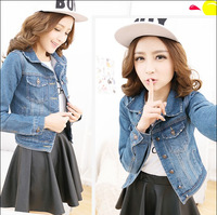 2014 spring autumn women's denim blue outerwear female design excellent outerwear female denim short jacket basic