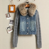 Autumn winter 2014 new arrival women's women artificial raccoon large fur collar yarn sleeves denim blue top short jacket