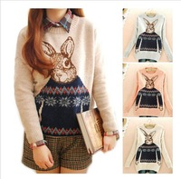 2013 Mr. Peter Rabbit Animal Printed Winter Loose Sweater For Women Christmas Fashion Tops Jacquard Knitted Sweater 3 Colors