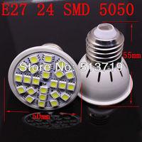 5X Wholesale E27 4W 24 SMD 5050 LED High Power Light White/ Warm white bedroom light spot lamp Allimium body Long life 200-240V