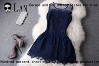 2014 new retro court noble embroidery beads Slim vest skirt dress high quality  clothing Women Ladies Blue / White Lady Apparel
