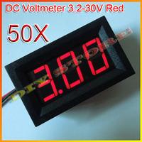 Wholesale 12V Brand New 50pcs/lot Mini DC3.2-30V  Red Digital Voltmeter Volt Panel Meter +free shipping-10000124