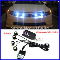 Super Bright 4 pcs x 1.5W High Power Eagle Eye LED Strobe Flash Knight Rider Lighting Kit + 16 flash Wireless Remote Control