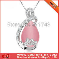 DZ1009 S925 Sterling Silver White Opal Pink Artificial Cat's Eye Pendant Necklace with Rhinestone , Free Shipping