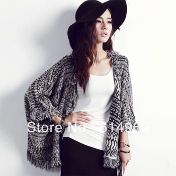 Free Shipping Designer Autumn Winter Sweater Cardigan Plus Size XXXL Retail&Wholesale 3/4 Batwing Sleeves Cardigan Women