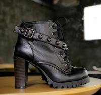 Punk boots high-heeled fashion boots motorcycle boots rivet women's shoes