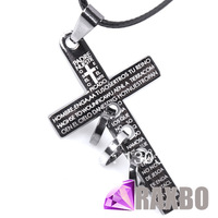 Vintage Titanium steel Bible Cross Leather Snake Chain Pendant Necklace for Women Wholesale Costume Fashion Jewelry
