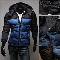 Men's Patchwork Outwear Warm Thick  Color  Panelled Classic Coat Parkas