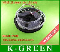 4m ws2811ic built-in 5050RGB LED digital black PCB strip dream color LED waterproof Strip DC5V 60LED/m 60Pixels/m free shipping