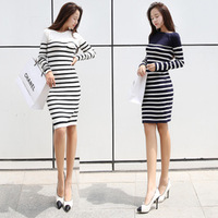 2013 autumn and winter The new high-grade Sweater Dress Stripes in the long