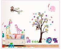 2014 New Hot selling  XXX large size 280x156cm Jungle Tree Animals Giraffe Owl Lion Wall Stickers Nursery Decal Kids Baby Decor