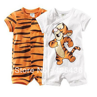 Baby clothing wholesale cartoon animal tiger style baby romper 100% cotton short-sleeve romper free shipping  2014