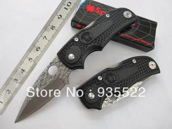 2014 new Factory price 12Pcs/lot spyderco F22 Damascus folding knife pocket knife HK Free shipping