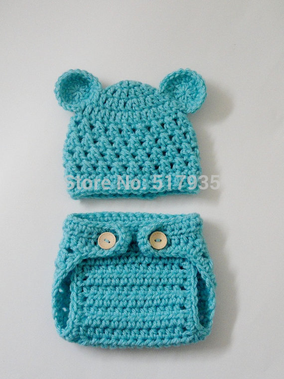 free shipping,Little bear Crochet baby Hat & Diaper Cover Set Boy Girl Baby photo prop size Newborn-6 months(China (Mainland))