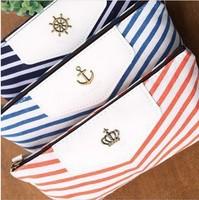3 Colors Navy Style Stripe Pen bag Fashion Stripe Pencil Box Case Bag 3pcs/lot free shipping